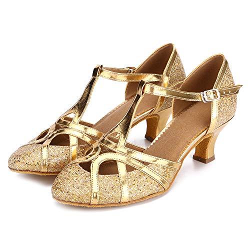 YKXLM Damen & Mädchen Ausgestelltes Tanzschuhe/Standard Ballsaal Latein Dance Schuhe,DE511-5,Gold,EU 39 - 6
