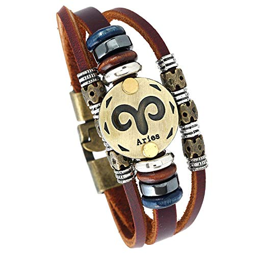Women'S Leather Bracelet,Vintage Boho Braided Adjustable Punk Genuine Leather Twelve Constellations Aries Charm Multilayer Brown Leather Bracelets Gift For Men Women Boys Girl