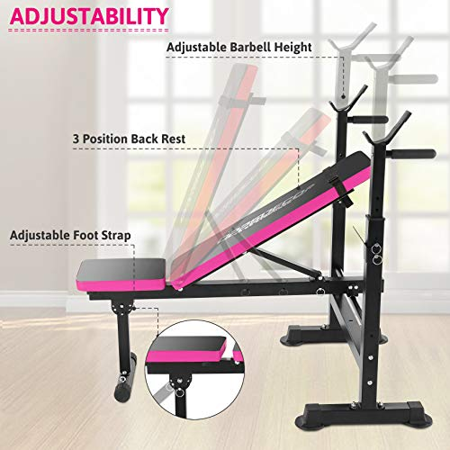 Folding Adjustable Weight Bench with Barbell Rack, Multi-Function Strength Training Adjustable Benches for Fitness Exercise and Strength Workout (Pink)