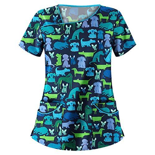 yiouyisheng Kasacks - Camisa de enfermería para mujer, de manga corta, cuello irregular, con banda de flores, perros y gatos, multicolor, uniforme médico, ropa de trabajo, enfermera azul oscuro M
