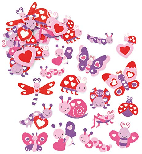 Baker Ross AF176 Love Bug Stickers - Pack 120, Valentine's Day Embellishments for Kids Arts and Crafts Projects