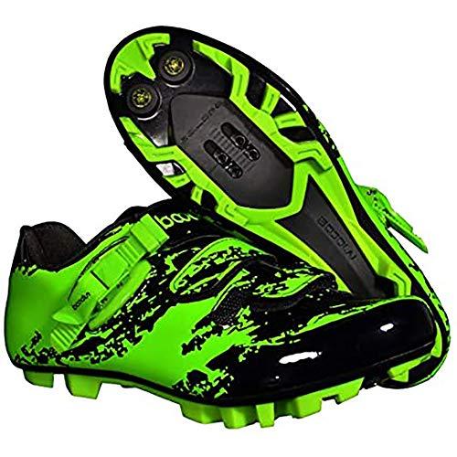 BHHT Zapatillas De Ciclismo MTB para Hombre Zapatillas De Bicicleta De Competición De Microfibra Profesionales Sistema Antideslizante para Exteriores con Clic Plano Piso Muy Rígido