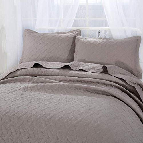 WEDF Funda de Cama de Color sólido Colcha Acolchada de algodón Bordado Patchwork Edredón Ropa de Cama Juego de 3 Piezas Cobertores Fundas de Almohada 50X70CMX2 Sábanas, Azul-Queen: 250X270CM