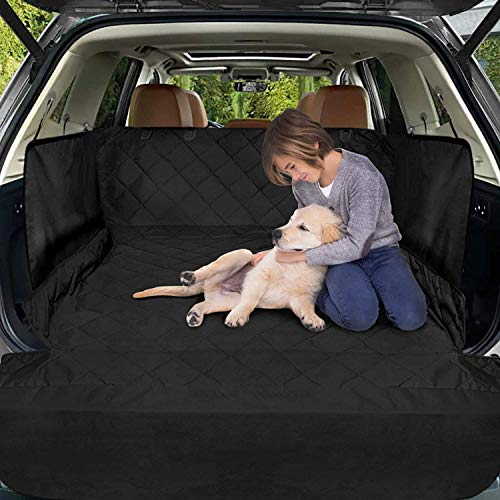 Cargo Liner for SUV, FunniPets Waterproof Dog Cargo Cover with Side Walls Protector and Bumper Flap, Non-Slip Backing, Quilted Pet Seat Cover, Large Size Universal Fit, Black
