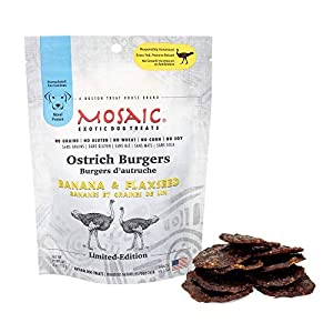 Mosaic Ostrich Burgers Exotic Dog Treats – Banana and Flaxseed – Gourmet Real Jerky, Novel Protein, Hypoallergenic, All Natural, No Grains – A Better Source of Protein (1 Bag)