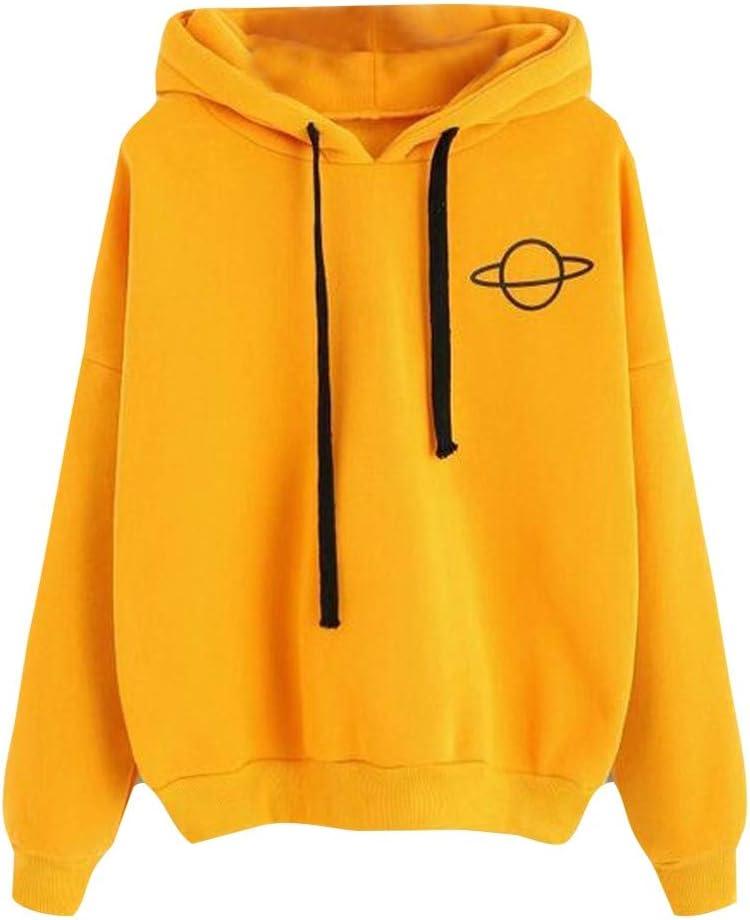 L, Yellow Womens Casual Sweatshirt Long Leeve Drawstring Hoodie Spring Multiple Colors Optional Pocket Top
