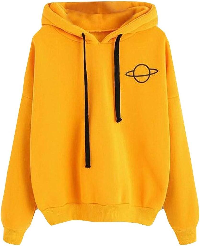 Toeava Womens Casual Hoodies Sweatshirt Teens Girls Loose Pullover Blouse Drawstring Pullover Tops Daily Tops Shirts