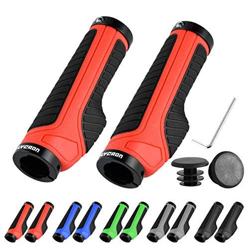 Puños de Bicicleta LYCAON (Color-Blocking) Puños de Bicicleta Antideslizantes Aptos para MTB/BMX/Mountain/Downhill/Foldable/Urban Bicycles/Scooter (Rojo, Tapas de Extremo General)