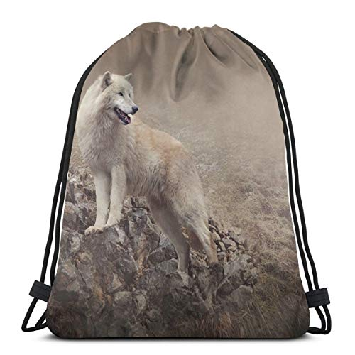 Drawstring Tote Bag Gym Bags Storage Backpack, White Wolf On Rocks At The Night Hazy Misty Weather Wildlife Nature Scenery Print,Very Strong Premium Quality Gym Bag for Adults & Children