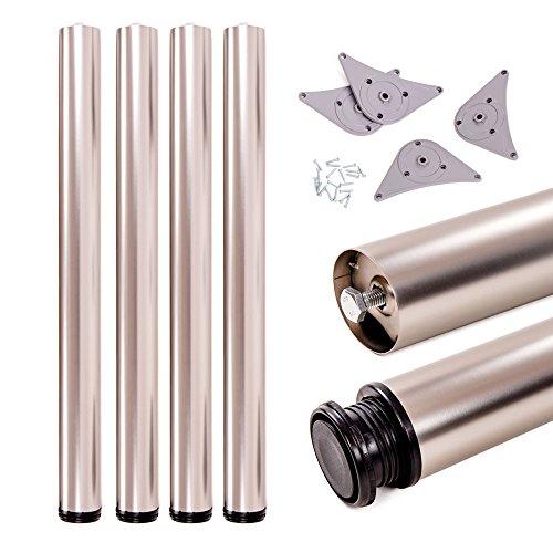 Tischbeine, höhenverstellbar | Sossai® Premium TBS | Design: Edelstahl | 4 Stück | Montagezubehör inklusive | Höhe: 71 cm (710 mm), einstellbar +2cm