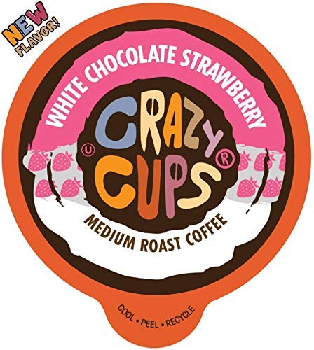 Crazy Cups Flavored Coffee for Keurig K-Cup Machines, White Chocolate Strawberry, Hot or Iced Drinks, 22 Single Serve, Recyclable Pods