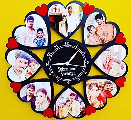 Mehar internationals customized MDF wooden clock heart shape frame gift for your loving one on occassion of him/her birthday, anniversary, engagement or any other special occassion (Size 16*16 inch)