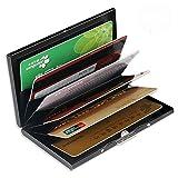 RFID Credit Card Holder for Women or Men, Slim RFID Blocking Credit Card Wallets, Stainless Steel Credit Card Protector for Holding Debit Cards and ID Cards (Black)