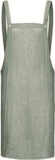 Delantal sin Mangas A-Line de Mujer Color sólido Cocina casera Suelta Delantal Vestidos Verde Militar, Caqui S-XXXXXL
