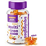 Kids Multivitamin + Iron Gummies by Squiggles 100ct. | All-Natural, Low Sugar, and Super Yummy | Broad Spectrum of...