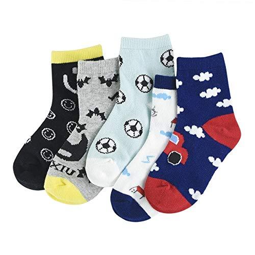 Xiaobing 5 Pares/Calcetines de algodón para bebés, Calcetines Suaves para niños, Calcetines de algodón Transpirables con patrón de Dibujos Animados -B27-1 a 3 años S