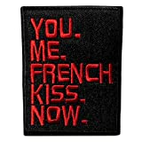 Parches - You Me French Kiss Now - negro - 8,6x6,7cm - termoadhesivos bordados aplique para ropa