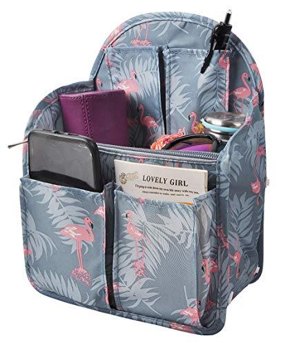 Vercord Backpack Organizer Insert Liner Hanging Travel Bag in Bag with Many Pockets Blue Flamingo Medium