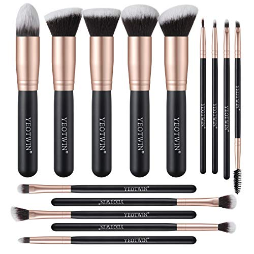 YEOTWIN 14Pcs Makeup Brushes Premium Synthetic Foundation Brush Blending Face Powder Blush Concealers Eye Shadows Make Up Brushes set eyebrow brush Rose Golden