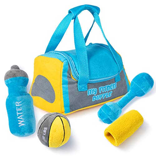 Plush Fitness Duffle Toy Set | Includes 4 Talking Soft Plush Workout Gear | Medicine Ball, Dumbbells, Sweatband, & Water Bottle | Plush Duffle Bag Carrier | Plush Toys with Sounds