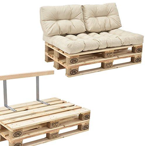 [en.casa] Palettensofa - 2-Sitzer mit Kissen - (beige/Creme) komplettes Set inkl. Rückenlehne