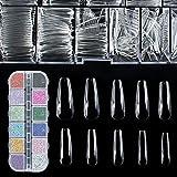 Clear Nail Tips for Acrylic Nails Square - OLSAinny 500pcs Coffin Nail Long Fake Nails with 1400pcs Nail Gems and Rhinestones Kit for Nail Salons and DIY Nail Art
