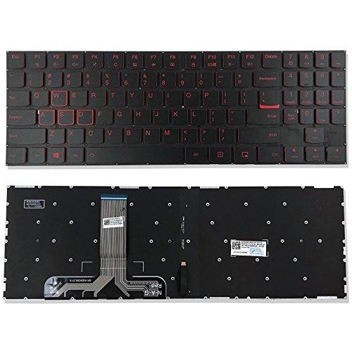 Replacement Backlit Keyboard Without Frame For Lenovo Legion Y520 Y520-15IKBN Y520-15IKBN Type 80WK Y720 Y720-15IKB Y720-15IKB Type 80VR, US Layout Black Color