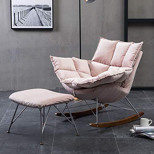 Tbaobei-Baby Sofa Einfacher Gepolsterte Schaukelstuhl W/Ottoman for Wohnen, Schlafzimmer Kleines Apartment Lounge Sessel Flexibel (Color : Pink, Size : Free Size)