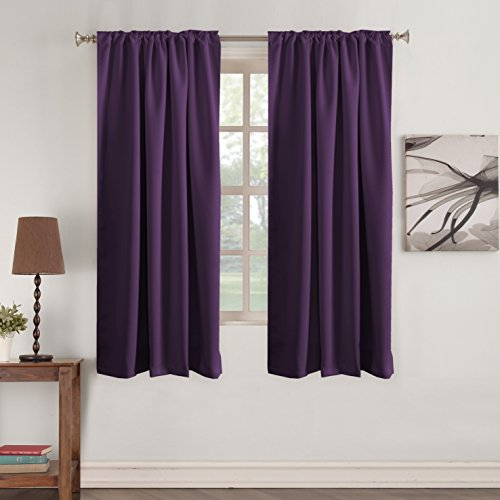 Turquoize Premium Blackout 63 - inch Curtain Panels Pair - Back Tab/Rod Pocket Window Drapes for Bedroom/Living Room Thermal Insulated Window Short Curtains (Solid Plum Purple)