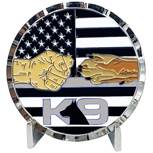 BB-014 K9 Thin Gray Line Challenge Coin Fist Paw Bump Corrections Correctional Officer CO Police