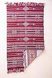 SOLTAKO Alfombra de Kilim con Flecos, utilizable por Ambos Lados, Multiuso, 100% Lana, Vintage, Corredor Colorido, Alfombra Oriental Berber Chindi, patrón étnico, Burdeos, 70 x 140 cm