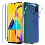 iLiebe Kompatibel mit Samsung Galaxy M21/ M30s Hülle & Panzerglas, [1 Handyhülle + 2 Panzerglas] Schutzfolie Glas 9H, Dünne Klare Weiche TPU Schutzhülle mit Mikrodot Muster & Bildschirm Kameraschutz