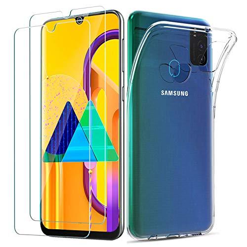 iLieber Kompatibel mit Samsung Galaxy M30s/ M21 Hülle & Panzerglas, [1 Handyhülle + 2 Panzerglas] Schutzfolie Glas 9H, Dünne klare weiche TPU Schutzhülle mit Mikrodot Muster & Bildschirm Kameraschutz