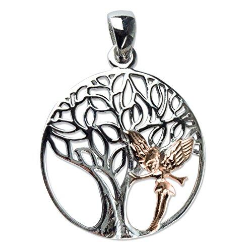 Anhänger Lebensbaum mit Elfe 925 Sterling Silber rhodiniert mit Rotgold Beschichtung