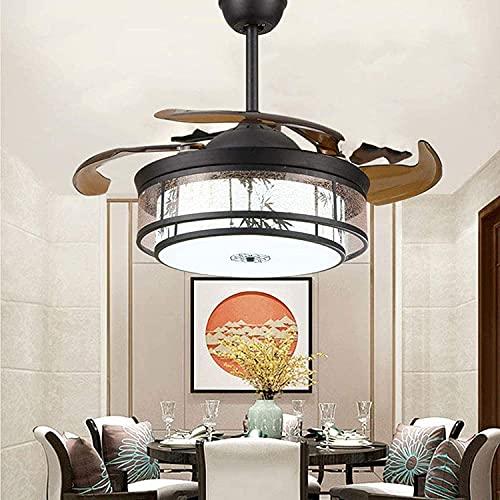 Ventilador de techo con luces y control remoto, Araña de ventilador Invisible 65W LED Iluminación de iluminación Luminaria Luminaria Retro Sala de estar Ventilador de techo Luz Antigua Comedor Luz de
