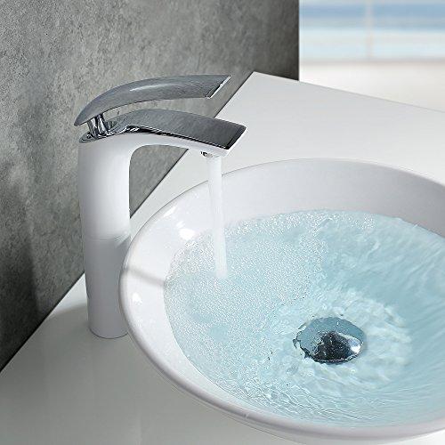 Homelody – Design-Waschtischarmatur, Einhebelarmatur, ohne Ablaufgarnitur, hoher Auslauf, Weiß-Chrom - 7