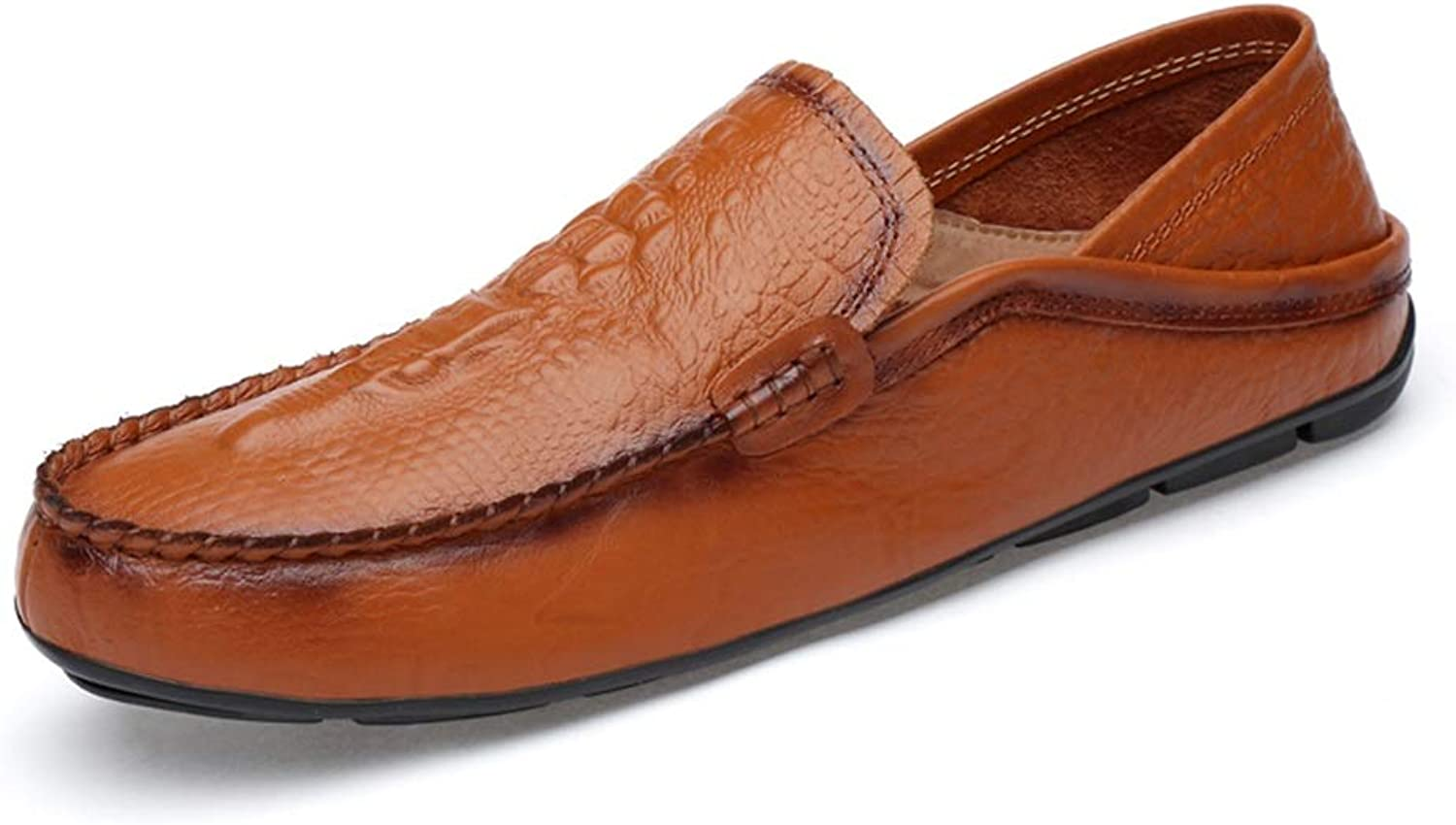 MUMUWU Oxford shoes Casual Dress Boat shoes for Men Breathable Loafers Flat Leather Upper Hand-Made Slip On (color   Reddish Brown, Size   9.5 D(M) US)