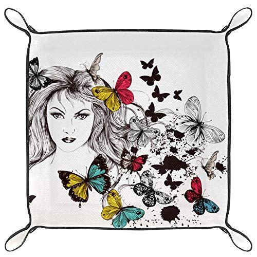 Faltbares Tablett für Uhren/Schmuck, Schmetterlings-Design, Kunstleder, für Damen