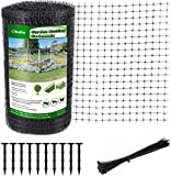 Ohuhu 6.8 x 100 FT Heavy Duty Bird Netting with Cable Ties & Ground Nails, PP Material Anti-Bird Reusable Garden Netting for Fruit, Vegetable, Plant Trees, Plastic Deer Netting Fencing Protection