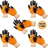 Frabble8 Multipurpose Nitrile Coated Knitted Reusable Washable Hand Gloves || Cut Resistant Safety Work Gloves for Household, Gardening, Industrial Use Size - Large (5, Orange/Black)