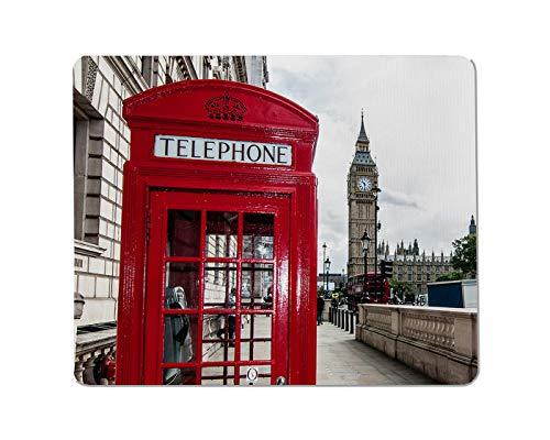 Yeuss Callbox Rechteckige rutschfeste Mauspad London Red Handyzelle & Big Ben Gaming Mauspad 200 mm x 240 mm