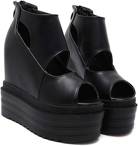 LBTSQ-Chaussures à Talon Une Seule Pente Fishmouth 14Cm Hollow étanches Super Talons Hauts Tableau à L'Intérieur De Sensibiliser Ladies'chaussures Muffin Pantoufles