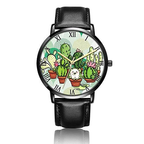 Relojes Anolog Negocio Cuarzo Cuero de PU Amable Relojes de Pulsera Wrist Watches Cactus