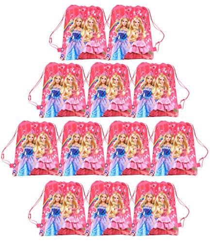 Qemsele 12 Piezas Bolsa Mochilas Bolsas de cumpleaños, Dibujos Animados Tema Reutilizable Bolsas de Fiesta cordón Mochila Bolsas para cumpleaños niños la Fiesta favorece la Bolsa (Barbie)