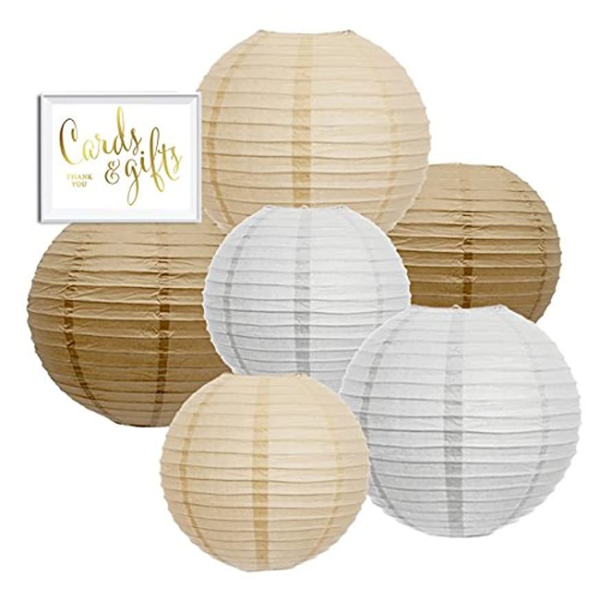 Andaz Press Hanging Paper Lantern Party Decor Trio Kit with Free Party Sign, Kraft Brown, White, Ivory, 6-Pack, for Burlap Colored Rustic Bridal Shower Outdoor Wedding Decorations