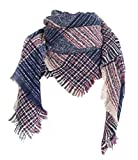 Wander Agio Womens Warm Scarf Square Shawls Infinity Rough Surface Scarves Stripe Big Plaid Navy Blue 1