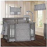 BabyFad Clover Grey 9 Piece Baby Crib Bedding Set