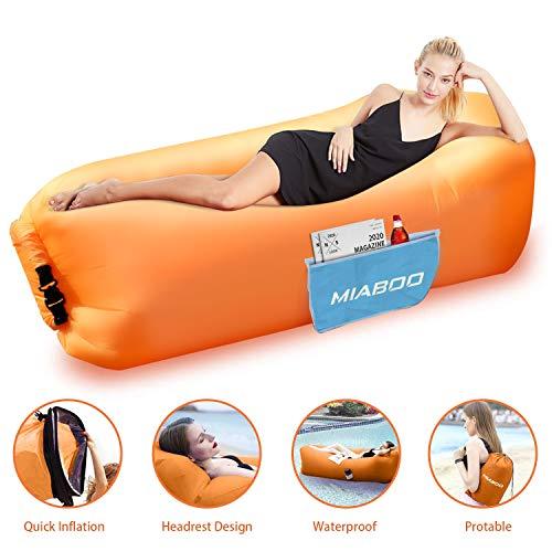 MIABOO Aufblasbare Sofa,Wasserdichtes Aufblasbares Air Lounger mit Tragebeutel, zum Schlafen im Frei (Orange)