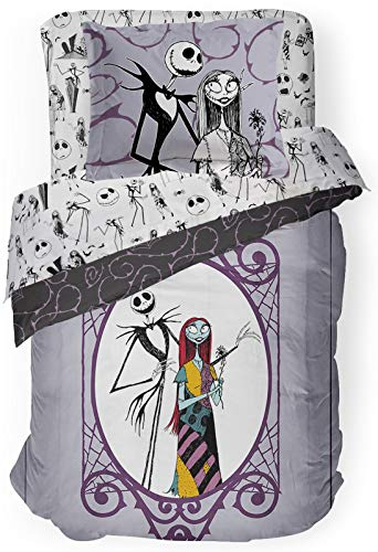 Disney Nightmare Before Christmas Gothic Romance Queen Comforter & Sham Set - Super Soft Kids Reversible Bedding Features Jack Skellington & Sally - Fade Resistant Microfiber (Official Disney Product)