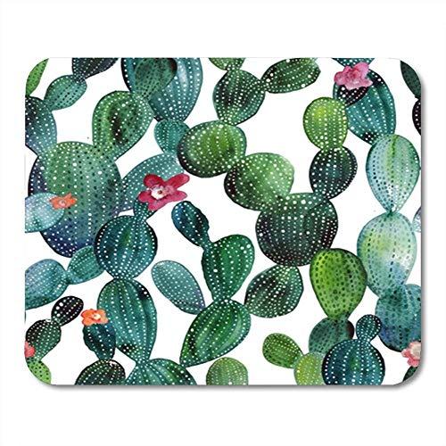 Yanteng Tappetino per Mouse Rettangolare Gomma Fiore Rosa Acquerello Cactus Giardino Tropicale Modello acquarello Verde Messico Mousepad Supporto per Notebook